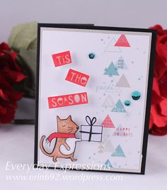Simon Says Stamp December 2015 Card Kit.  Patterned paper by PinkFresh Studio.