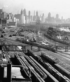 Train yards just south of Grant Park, 1949, Chicago