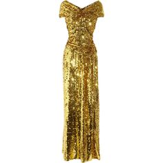 Vivienne Westwood Gold Label Long Glazing metallic sequined gown ($1,944) ❤ liked on Polyvore featuring dresses, gowns, vestidos, gold, sequin dress, long ball gowns, gold dress, sequin gown and gold sequin evening gown