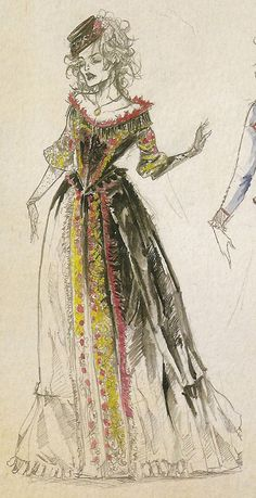 Fashion Illustration Design Colleen Atwood costume design for Mrs Lovett in Sweeney Todd: The Demon Barber of Fleet Street Theatre Costumes, Movie Costumes, Ballet Costumes, Musical Theatre, Mrs Lovett, Costume Design Sketch, Colleen Atwood, Tim Burton, Mode Inspiration