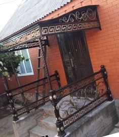 House Canopy, Iron Work, Canopies, Railings, Porch Swing, Outdoor Furniture, Outdoor Decor, Wrought Iron, Outdoor Structures