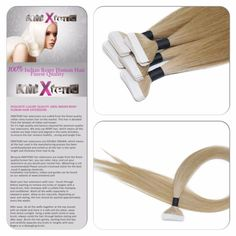 """Seamless Tape Light Blonde #22 Indian Remy Human Hair Extensions 50g 20"""" NR #Tape"""