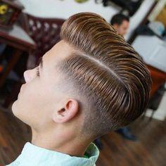 Hard Part Comb Over + Mid Taper Fade