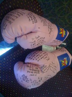 Pink Knock Out - loved ones sign pink boxing gloves to encourage a woman fighting breast cancer