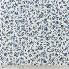 Blue Floral on Cream Cotton Calico Fabric