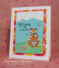 Lawn Fawn Mom + Me Love You card by Elise Constable.