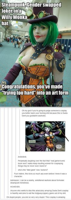 Steampunk gender swapped Joker in a Willy Wonka hat | Likealaugh