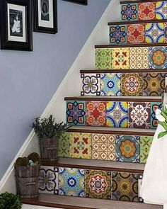 wall Tiles Stickers - Set of 24 tile stickers Back splash Talavera style stickers mixed for walls Kitchen bathroom Stair decals Tile Decals, Wall Decal Sticker, Decals For Walls, Wall Tiles, Bathroom Decals, Room Tiles, Vinyl Tiles, Mosaic Wall, Wall Mural