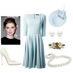 Victoria attending the first garden party of the season at Buckingham Palace with her parents and aunt The Duchess of York by immortal-longings on Polyvore featuring polyvore, fashion, style, Dolce&Gabbana, Jimmy Choo, Blue Nile and Tiffany & Co.