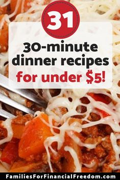 Find 31 cheap dinner recipes for family! Awesome cheap dinner recipes for the bu. Easy Cheap Dinner Recipes, Cheap Easy Meals, Frugal Meals, Dinner Recipes For Kids, Budget Meals, Quick Easy Meals, Frugal Recipes, Cheap Recipes, Cooking Recipes