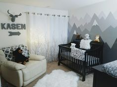 Instagram @kasendavid Mountain Mural Nursery Woodland Winter Birch Tree Baby Boy Grey Gray Black White Cream Tree Trees Mountains Crib Bear PNW Changing Table Owl Fox Lamp Frame Ikea Hemnes Dresser Fur