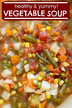 Vegetable Soup is packed with healthy and nutritious ingredients. Fresh vegetables in a perfectly seasoned broth base, and it cooks in one pot on the stove! Best Vegetable Soup Recipe, Vegetable Soup Crock Pot, Garden Vegetable Soup, Low Carb Vegetable Soup, Homemade Vegetable Soups, Best Soup Recipes, Healthy Soup Recipes, Cooked Vegetable Recipes, Favorite Recipes