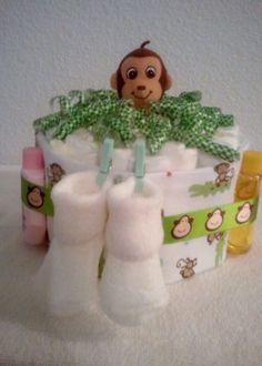 Diaper cake monkey baby shower gift for boy or girl