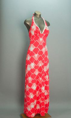 1960s coral DeWeese dress 60s maxi dress size small by melsvanity, $78.00