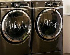 Wash Dry - Laundry Room Decor - Vinyl Lettering - Removeable - Washer Dryer Decor - Wall Art Words T Washer And Dryer Pedestal, Stackable Washer And Dryer, Stacked Washer Dryer, Laundry Room Decals, Laundry Room Organization, Laundry Room Design, Laundry Rooms, Laundry Shop, Kitchen Decals