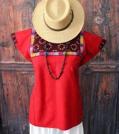 Red & Black Huipil Tunic Chiapas Mexico, Hand Woven Mayan Boho Hippie Santa Fe  #Handmade #HuipiltunicHuipil