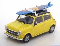 Strassen-Fahrzeuge Welly 1:24 Mini Cooper 1300 mit Surfboard   gelb/schwarz  www.modelissimo.de