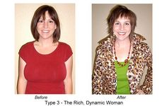 """Before and After Makeover of a Type 3 rich, dynamic woman. From """"cute"""" to """"watch out"""". How fabulous does she look in clothes that are angled and edgy. An example of how design line choices (eg in necklines, sleeves, collars, pockets, or belts, darts, pleats or seams) and even lines of your hair cut and jewellery, can all be ways to help express your natural movement and support the natural lines of your face, your eyes and your smile. #Style #DYT #Type3"""