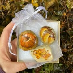 Pumpkin, fallen oak leaf and acorn painted stones. Autumn and Halloween decor in a gift box. Natural, nature inspired art work. Painted stones/pebbles/rocks - made to order.