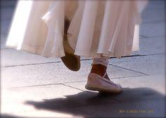 Sardana Dance.  Varnished Photo transferred onto canvas. Shows a clip of the native Sardana Dance of Barcelona, Spain.
