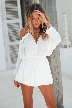 Angel in White Playsuit - Moda Girly Outfits, Trendy Outfits, Cute Outfits, Fashion Outfits, Beach Outfits, Urban Outfits, Gothic Fashion, Blush Cocktail Dress, Cocktail Dresses