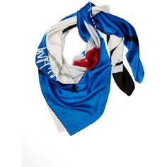 DIANE VON FURSTENBERG Silk Twill Scarf ($228) ❤ liked on Polyvore featuring accessories, scarves, dvf abstract face lapis, diane von furstenberg scarves, lightweight scarves and diane von furstenberg