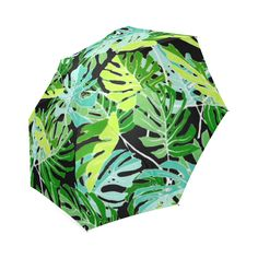 Tropical Leaves Floral Pattern Foldable Umbrella