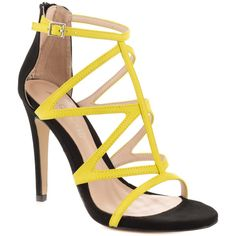 Aldo Women's Sevelalla - Yellow (€79) ❤ liked on Polyvore featuring shoes, sandals, heels, yellow sandals, aldo, colorful sandals, stiletto sandals and t strap shoes