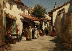 Algérie -Peintre Français Maxime Noiré (1861 – 1927), huile sur toile Titre : Les marchands Arabes à Biskra