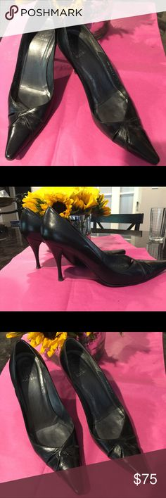 "Stuart Weitzman pumps size 7.5 original $259.00 Black Stuart Weitzman pumps with 3.5"" heel, very comfortable to wear every day. Beautiful front leather twist, pointed toe . Original price $259.00 Stuart Weitzman Shoes Heels"