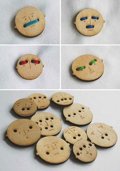 Mr. Buttons - when you sew them on the thread creates eyebrows or moustaches.