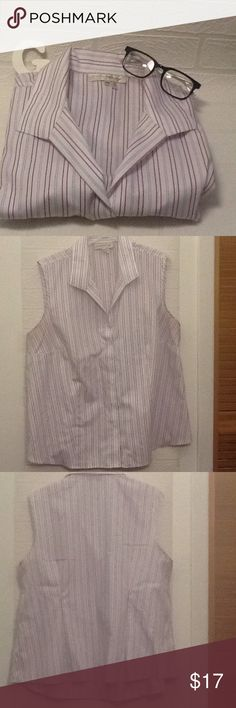 Gently used stripe sleeveless button down Quickcare sleeveless button shirt great condition 👌🏼👌🏼👌🏼 Evan Picone Tops Button Down Shirts