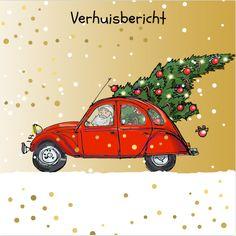 #kerst #kaart #kerstkaart #kerstkaarten #xmas #merry #christmas #happy #new #year #kerstboom #auto #rood #fuif #verhuizen #verhuisbericht #verhuiskaart #goud #stippen #confetti #kerstman #vrolijk