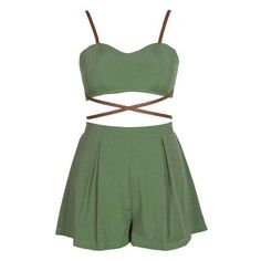 Bandage 2pcs Romper herlayers ($18) ❤ liked on Polyvore featuring jumpsuits, rompers, dresses, romper, green rompers, beach rompers, party rompers, beach romper and playsuit romper