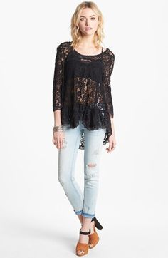 Free People Lace Peplum Blouse