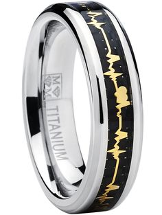Men's Women's Titanium Heartbeat Ring Wedding Band with Carbon Fiber Inlay, Forever Love ring SZ 12. Buy it as a set one for you and your loved one. Crafted of Genuine Solid Titanium. Black Carbon Fiber Inlay, Heartbeat Design. 6mm Band, Comfort Fit. Comes with a FREE Ring Box!!.
