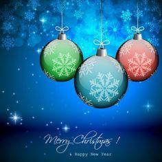 vector de fondo de invierno con hermosas bolas de navidad