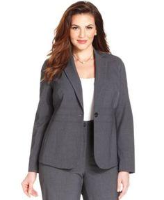 Jones New York Collection Plus Size Emma One-Button Blazer      size is 24w