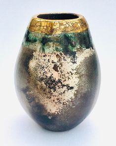Small smoke fired ceramic pot with gold special gift.
