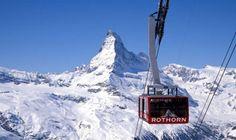 Téléphérique du Rothon à Zermatt (Suisse), avec le Cervin en fond !