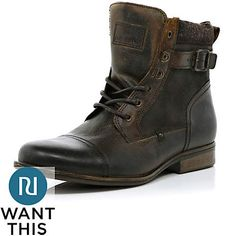 Brown military boots - boots - shoes / boots - men River Island