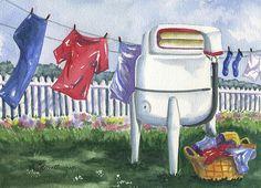 Wash Day Blues By Marsha Elliott In 2020 Laundry Room Art Blue