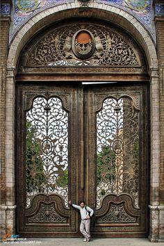 Malek Garden door. Tehran, Iran... @ivannairem .. https://tr.pinterest.com/ivannairem/doors/ Front door inspo