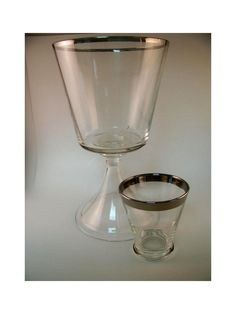 Mad Men Mid Century Silver Rim Oversize Footed Goblet n Shot Glass Dorothy Thorpe Style. $14.00, via Etsy.