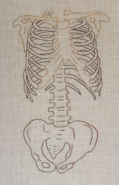 All medical students start their education by learning anatomy and few things are more universally recognized than the arrangement of bones that makes up the human skeleton. This hand embroidered anatomically correct partial skeleton was inspired by that common link of humanity.  The embroidery itself is done with cotton thread on a linen background. It measures 9 inches x 12 inches and is framed in a minimalist style, bare bones you might say, simply stretched over a canvas on a wood frame…