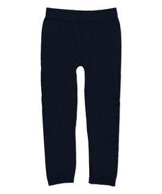 Navy Fleece-Lined Capri Leggings