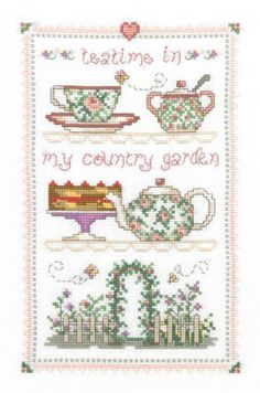 Country Tea Time - Cross Stitch Pattern - 123Stitch.com
