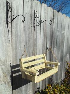 wooden swing squirrel feeder