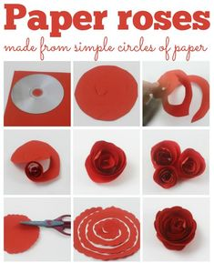Paper roses, these fab paper roses are made from just a circle of paper and are easy to make. Perfect for mothers day or a home made gift. paper roses How to make simple paper roses and beautiful roses for Mothers Day How To Make Paper Flowers, Paper Flowers Diy, Flower Crafts, Rose Crafts, Simple Paper Flower, Tissue Paper Roses, Rolled Paper Flowers, How To Make Rose, Craft Flowers