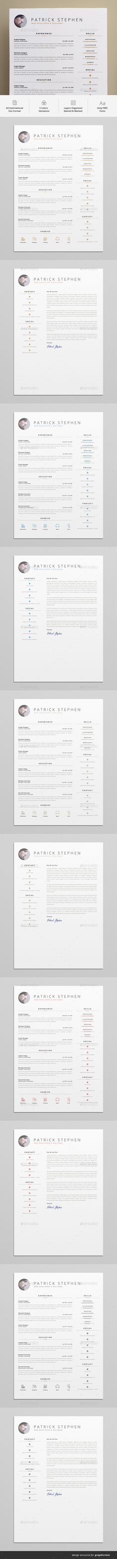 Resume A4 Template PSD - 5 Color Variations, 19 Hobbies icons + 14 Social icons
